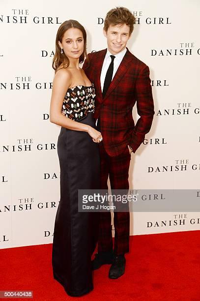 "Eddie Redmayne and Alicia Vikander attend the UK Film Premiere of ""The Danish Girl"" on December 8, 2015 in London, United Kingdom."