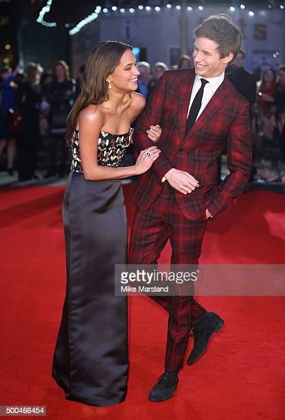 Eddie Redmayne and Alicia Vikander attend the UK Film Premiere of The Danish Girl on December 8 2015 in London United Kingdom