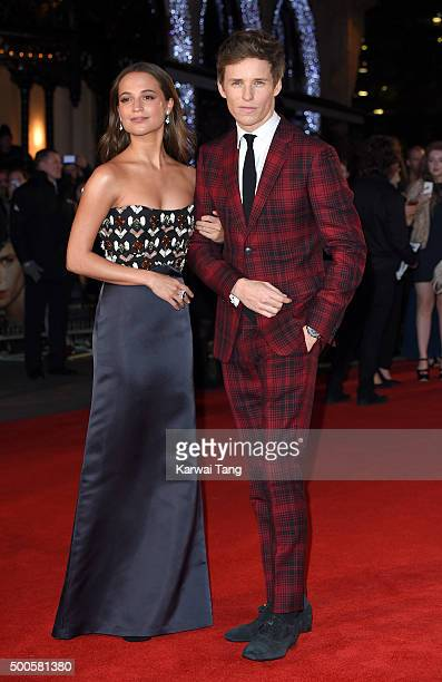 Eddie Redmayne and Alicia Vikander attend the UK Film Premiere of 'The Danish Girl' on December 8 2015 in London United Kingdom