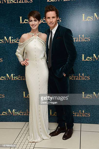 Eddie Redmayne and Anne Hathaway attend the world premiere of Les Miserables at The Odeon Leicester Square on December 5 2012 in London England