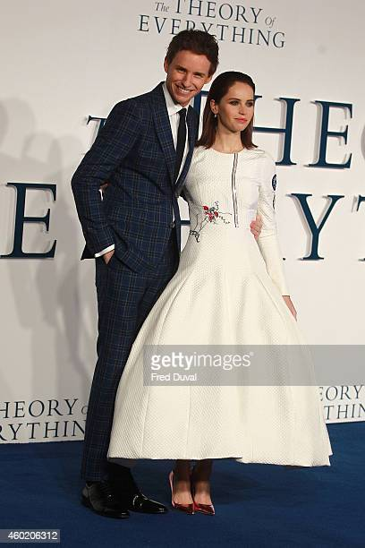 """Eddie Redmayne and Felicity Jones attends the UK Premiere of """"The Theory Of Everything"""" at Odeon Leicester Square on December 9, 2014 in London,..."""