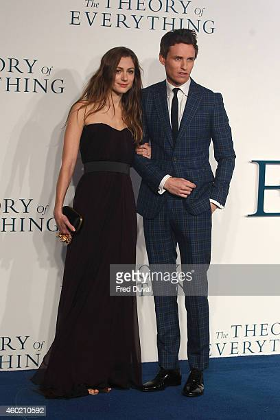 """Eddie Redmayne and fiancee Hannah Bagshawe attends the UK Premiere of """"The Theory Of Everything"""" at Odeon Leicester Square on December 9, 2014 in..."""