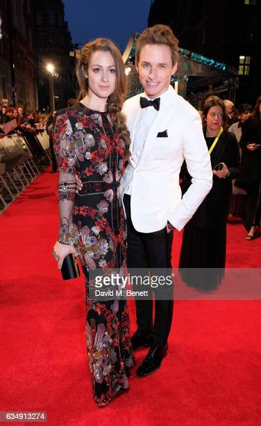 Eddie Redmayne and Hannah Bagshawe arrive in an Audi at the EE BAFTA Film Awards at the at Royal Albert Hall on February 12 2017 in London England