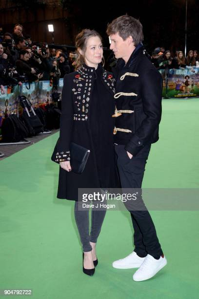 Eddie Redmayne and Hannah Bagshawe attend the 'Early Man' World Premiere held at BFI IMAX on January 14 2018 in London England