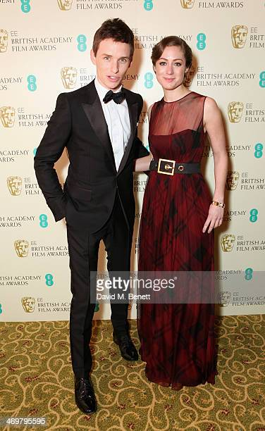 Eddie Redmayne and Hannah Bagshawe attend the official dinner party after the EE British Academy Film Awards at The Grosvenor House Hotel on February...