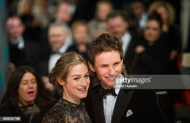 Eddie Redmayne and Hannah Bagshawe attends the EE British Academy Film Awards at The Royal Opera House on February 8 2015 in London England