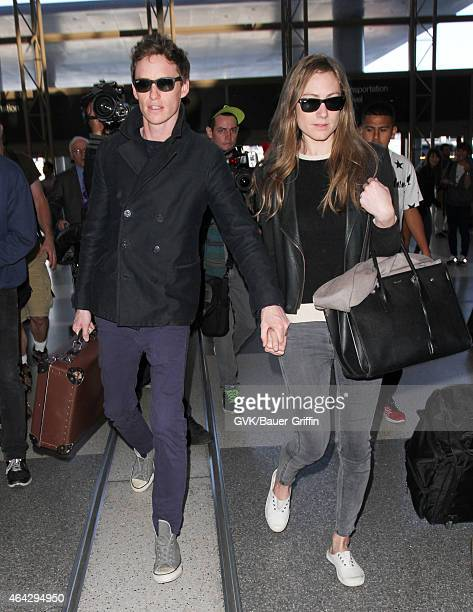 Eddie Redmayne and Hannah Bagshawe seen at LAX on February 23 2015 in Los Angeles California
