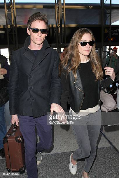Eddie Redmayne and Hannah Bagshawe seen at LAX on February 23 2015 in Los Angeles California