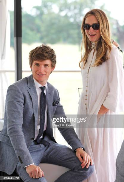Eddie Redmayne and Hannah Redmayne attend the Audi Polo Challenge at Coworth Park Polo Club on July 1 2018 in Ascot England