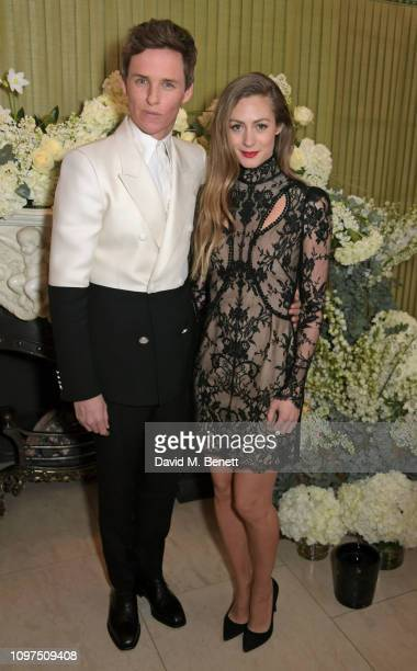 Eddie Redmayne and Hannah Redmayne attend the British Vogue and Tiffany & Co. Celebrate Fashion and Film Party at Annabel's on February 10, 2019 in...