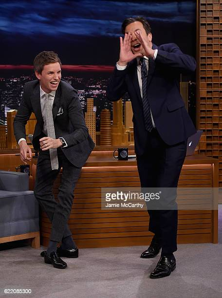 Eddie Redmayne and host Jimmy Fallon during a segment on The Tonight Show Starring Jimmy Fallon at Rockefeller Center on November 9 2016 in New York...