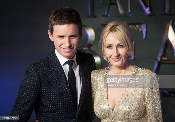 Eddie Redmayne and J K Rowling attend the European premiere of 'Fantastic Beasts And Where To Find Them' at Odeon Leicester Square on November 15...