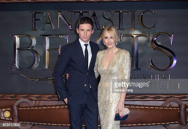 Eddie Redmayne and J K Rowling attends the European premiere of 'Fantastic Beasts And Where To Find Them' at Odeon Leicester Square on November 15...
