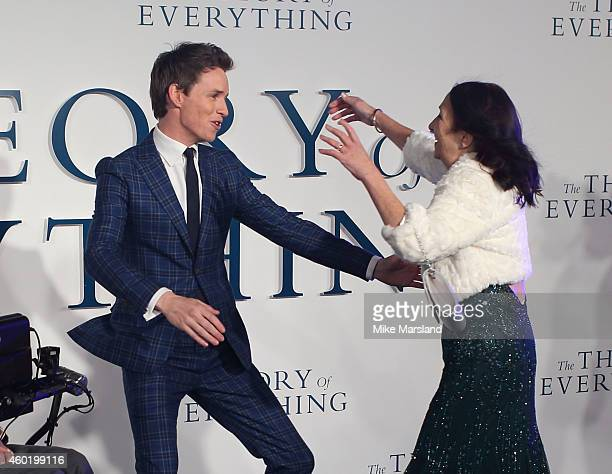 Eddie Redmayne and Jane Hawking attend the UK Premiere of The Theory Of Everything at Odeon Leicester Square on December 9 2014 in London England