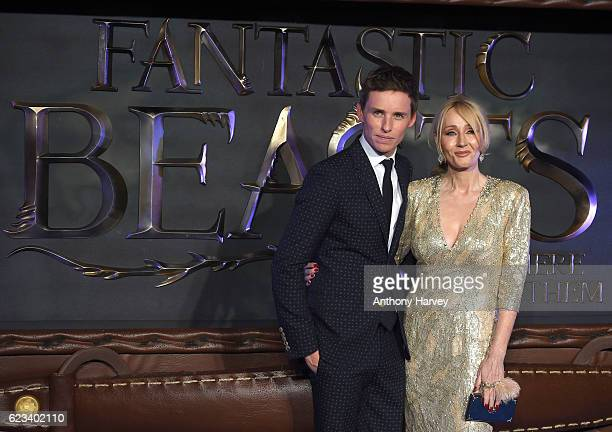 Eddie Redmayne and JK Rowling attend the European premiere of 'Fantastic Beasts And Where To Find Them' at Odeon Leicester Square on November 15 2016...
