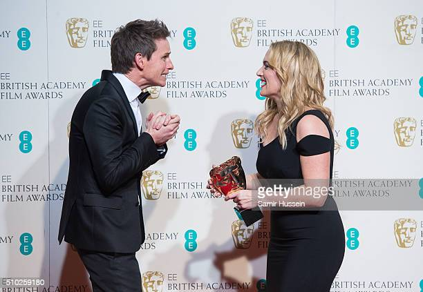 Eddie Redmayne and Kate Winslet in the winners room at the EE British Academy Film Awards at The Royal Opera House on February 14 2016 in London...