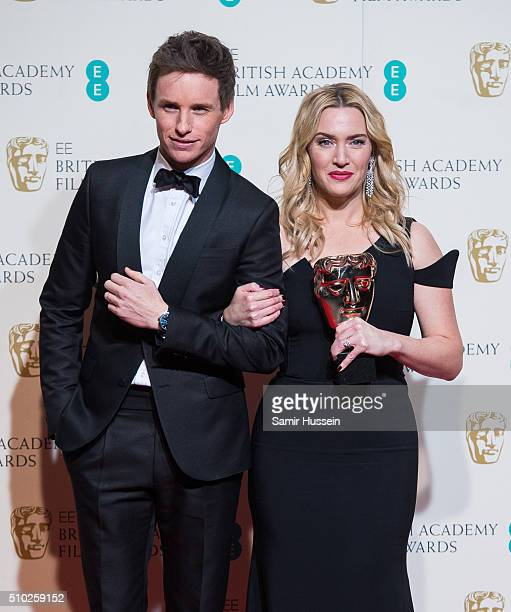 Eddie Redmayne and Kate Winslet pose in the winners room at the EE British Academy Film Awards at The Royal Opera House on February 14 2016 in London...