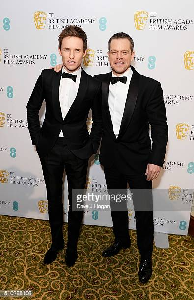 Eddie Redmayne and Matt Damon attend the official After Party Dinner for the EE British Academy Film Awards at The Grosvenor House Hotel on February...