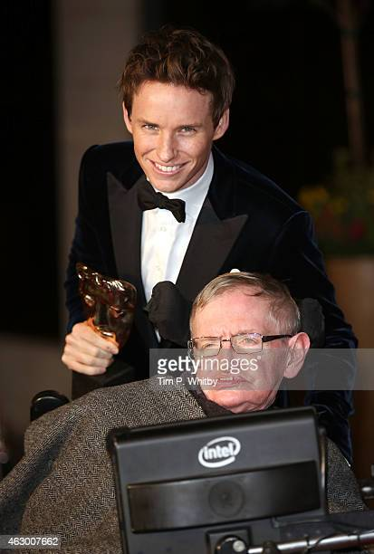 Eddie Redmayne and Professor Stephen Hawking attend the after party for the EE British Academy Film Awards at The Grosvenor House Hotel on February...