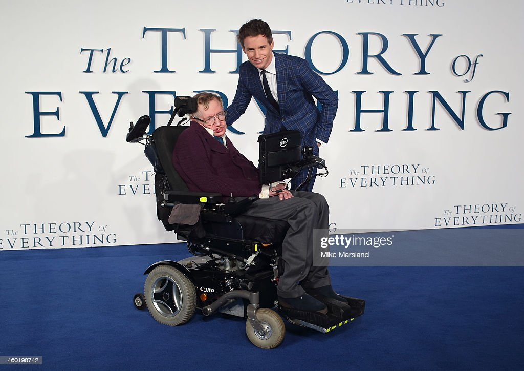 Eddie Redmayne and Stephen Hawking attend the UK Premiere of 'The Theory Of Everything' at Odeon Leicester Square on December 9, 2014 in London, England.