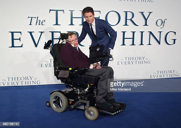 """Eddie Redmayne and Stephen Hawking attend the UK Premiere of """"The Theory Of Everything"""" at Odeon Leicester Square on December 9, 2014 in London,..."""