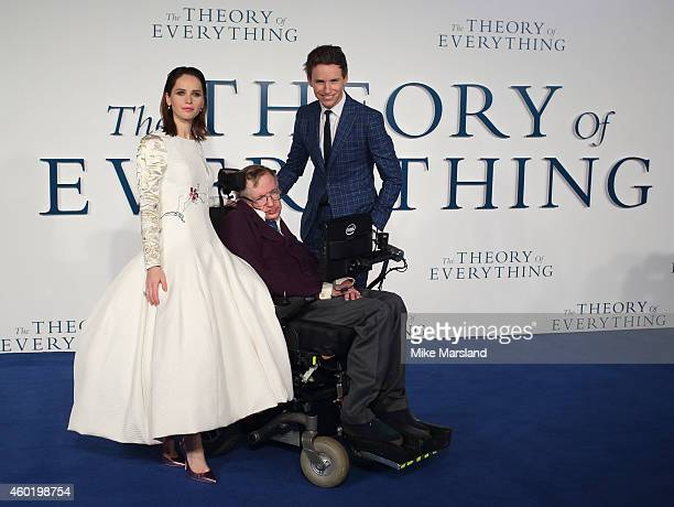 Eddie Redmayne and Stephen Hawking attend the UK Premiere of 'The Theory Of Everything' at Odeon Leicester Square on December 9 2014 in London England