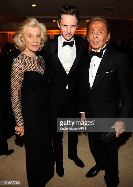 Eddie Redmayne and Valentino Garavani attend the 2013 Vanity Fair Oscar Party hosted by Graydon Carter at Sunset Tower on February 24 2013 in West...