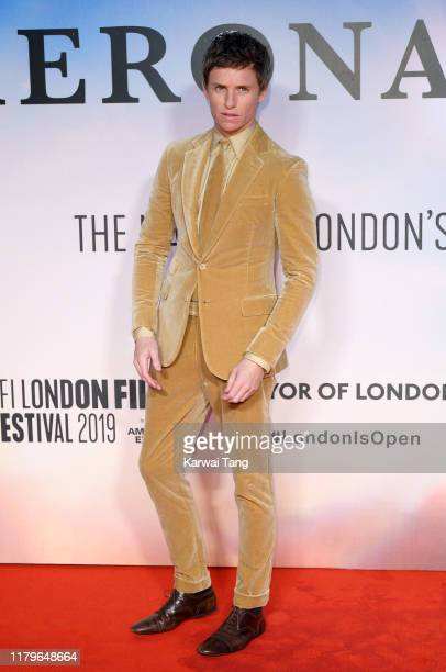 """Eddie Redmayne attends """"The Aeronauts"""" UK Premiere during the 63rd BFI London Film Festival at the Odeon Luxe Leicester Square on October 07, 2019 in..."""