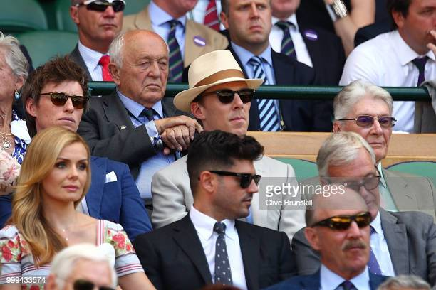 Eddie Redmayne Benedict Cumberbatch and Timothy Cumberbatch on day thirteen of the Wimbledon Lawn Tennis Championships at All England Lawn Tennis and...