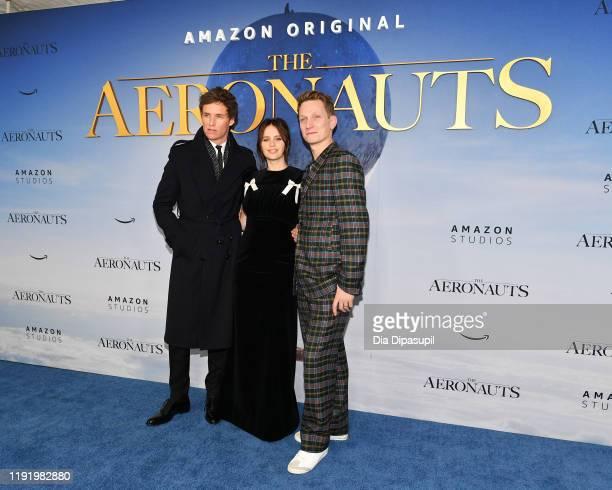 Eddie Redmayne Felicity Jones and Director/CoWriter/Producer Tom Harper attend The Aeronauts New York Premiere at SVA Theater on December 04 2019 in...