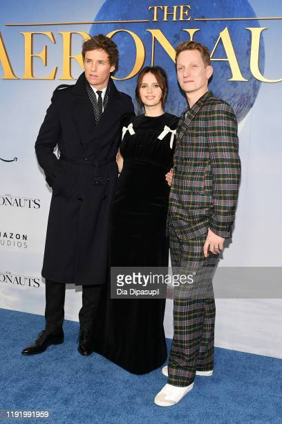 Eddie Redmayne Felicity Jones and Director/CoWriter/Producer Tom Harper attend The Aeronauts New York Premiere at SVA Theater on December 04 2019 in...