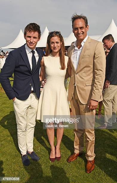 Eddie Redmayne Hannah Bagshawe and Andre Konsbruck Director of Audi UK attend the Audi Polo Challenge 2015 at Cambridge County Polo Club on July 3...