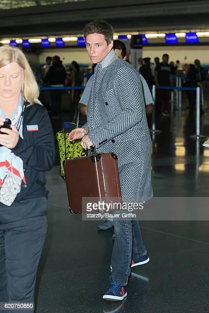 Eddie Redmayne is seen at JFK on November 02 2016 in New York City