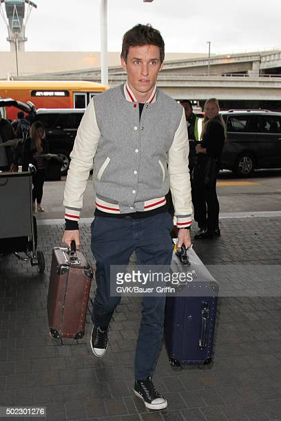 Eddie Redmayne is seen at LAX on December 22 2015 in Los Angeles California