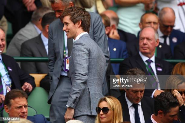 Eddie Redmayne looks on from the centre court royal box prior to the Gentlemen's Singles final between Roger Federer of Switzerland and Marin Cilic...