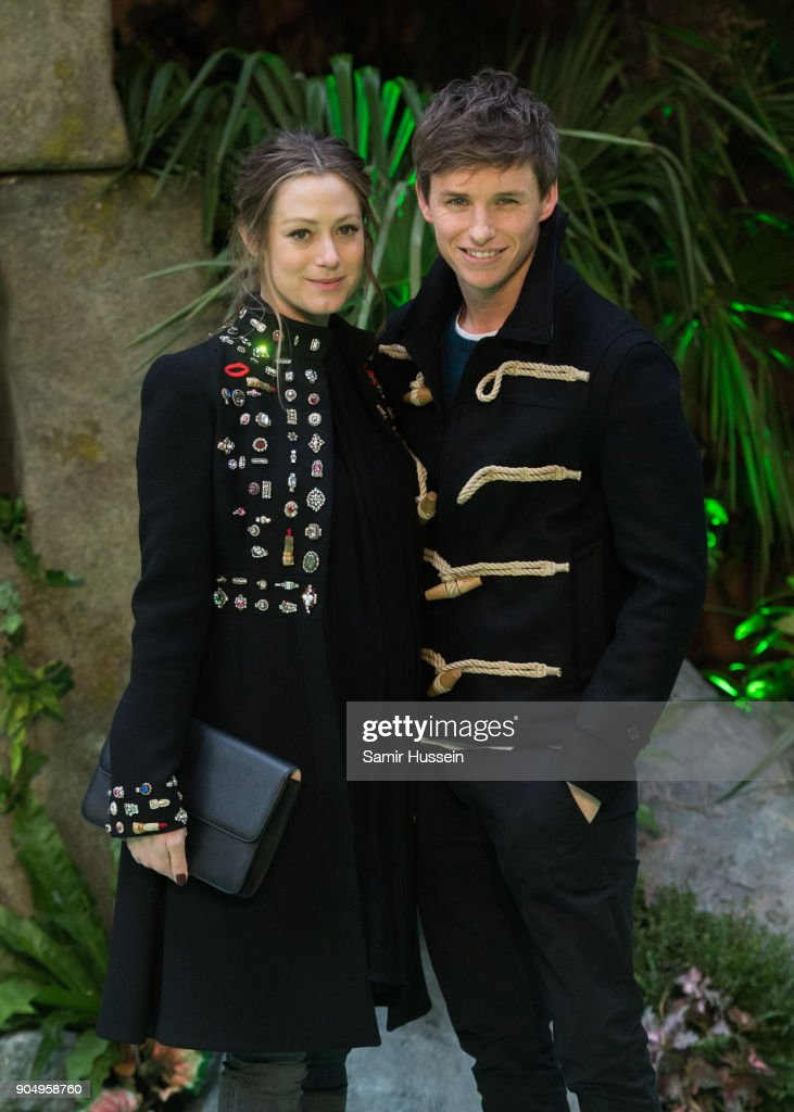Eddie Redmayne (R) poses with his wife Hannah Bagshawe attends the 'Early Man' World Premiere held at BFI IMAX on January 14, 2018 in London, England.