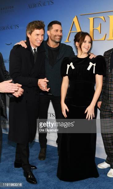 Eddie Redmayne Producer Todd Lieberman and Felicity Jones attend The Aeronauts New York Premiere at SVA Theater on December 04 2019 in New York City