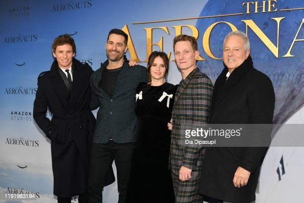 Eddie Redmayne Producer Todd Lieberman Felicity Jones Director/CoWriter/Producer Tom Harper and Producer David Hoberman attend The Aeronauts New York...