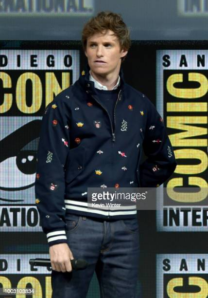 Eddie Redmayne speaks onstage at the Warner Bros theatrical panel during ComicCon International 2018 at San Diego Convention Center on July 21 2018...
