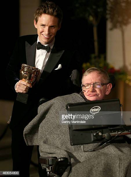Eddie Redmayne with his winning BAFTA and Stephen Hawking attends the after party for the EE British Academy Film Awards at The Grosvenor House Hotel...