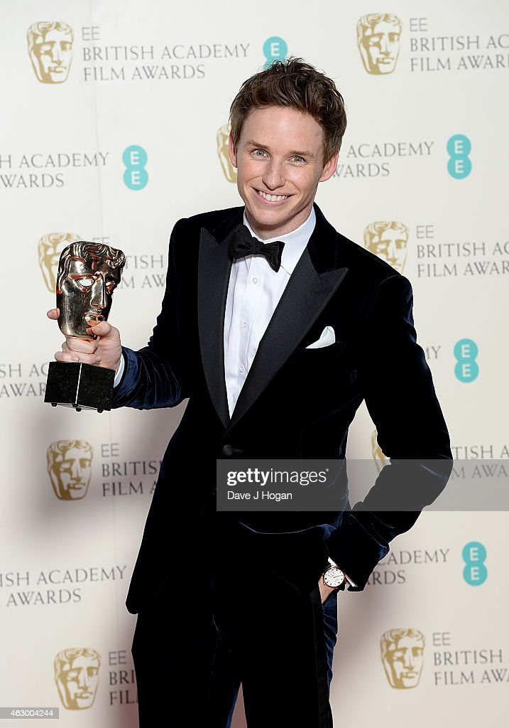 Eddie Redmayne with the Leading Actor Award for 'The Theory Of Everything' in the winners room at the EE British Academy Film Awards at The Royal Opera House on February 8, 2015 in London, England.