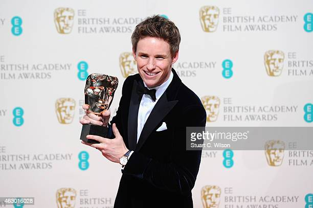 Eddie Redmayne with the Leading Actor Award for 'The Theory Of Everything' in the winners room at the EE British Academy Film Awards at The Royal...