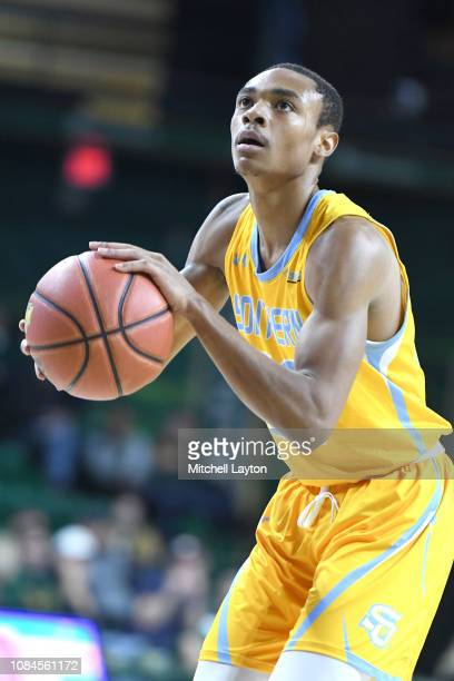 Eddie Reese of the Southern University Jaguars takes a foul shot during a college basketball game against the George Mason Patriots at the Eagle Bank...