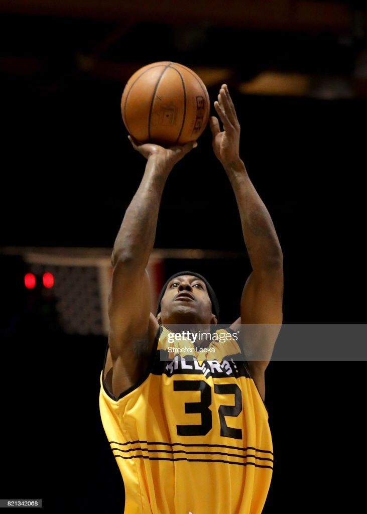Eddie Robinson #32 of the Killer 3s attempts a shot against the Ghost Ballers during week five of the BIG3 three on three basketball league at UIC Pavilion on July 23, 2017 in Chicago, Illinois.