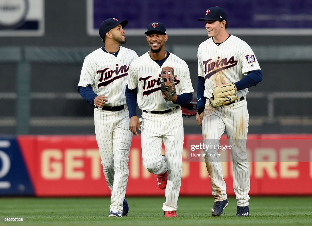 Eddie Rosario #20, Byron Buxton #25 and Max Kepler #26 of the Minnesota Twins celebrate winning game two of a doubleheader against the Kansas City Royals on May 21, 2017 at Target Field in Minneapolis, Minnesota. The Twins defeated the Royals 8-4.