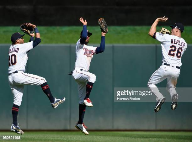Eddie Rosario Byron Buxton and Max Kepler of the Minnesota Twins celebrate defeating the Milwaukee Brewers 31 after the interleague game on May 20...