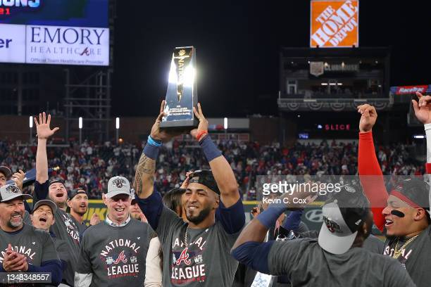 Eddie Rosario of the Atlanta Braves is named the Most Valuable Player of the National League Championship Series after defeating the Los Angeles...