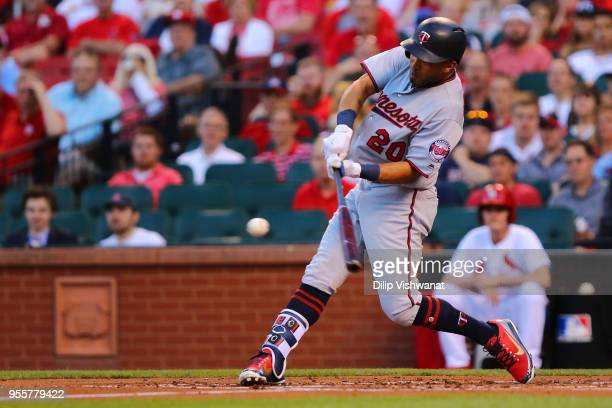 Eddie Rosario of the Minnesota Twins bats in a run against the St Louis Cardinals in the first inning at Busch Stadium on May 7 2018 in St Louis...