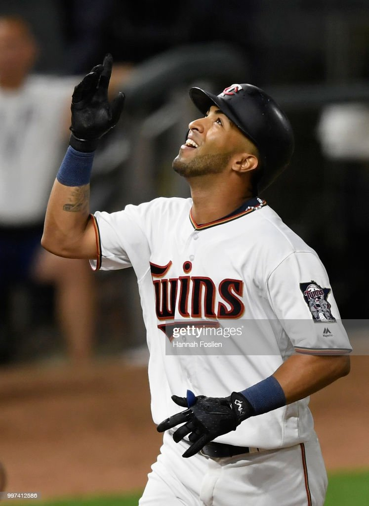 Eddie Rosario #20 of the Minnesota Twins celebrates as he rounds the bases after hitting a two-run home run against the Tampa Bay Rays during the seventh inning of the game on July 12, 2018 at Target Field in Minneapolis, Minnesota. The Twins defeated the Rays 5-1.