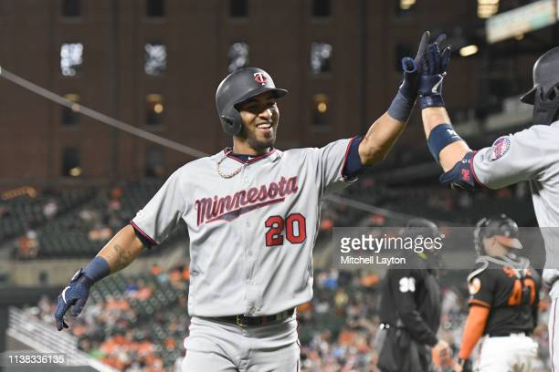 Eddie Rosario of the Minnesota Twins celebrates hitting a two run home run in the third inning during game two of a doubleheader baseball game...